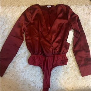 Wine silk body suit